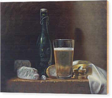 Bleu Cheese And Beer Wood Print by Timothy Jones