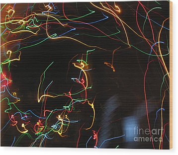 Wood Print featuring the photograph Blizzard Of Colorful Lights. Dancing Lights Series by Ausra Huntington nee Paulauskaite