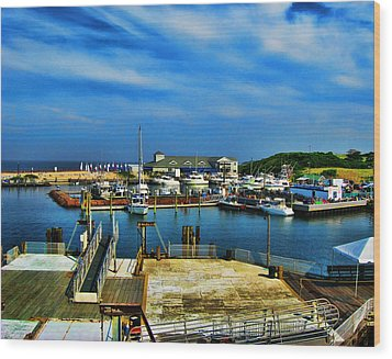 Block Island Marina Wood Print by Lourry Legarde