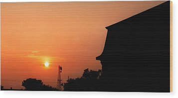 Block Island Sunset Wood Print