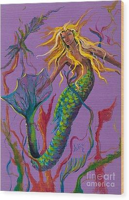 Blonde Mermaid Wood Print by Mary DuCharme