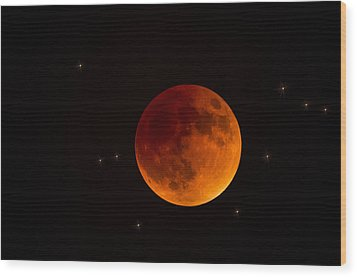 Blood Moon Lunar Eclipse 2015 Wood Print by Saija  Lehtonen