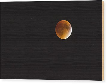 Blood Moon Luna Eclipse Wood Print