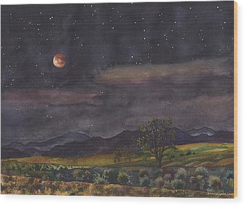 Wood Print featuring the painting Blood Moon Over Boulder by Anne Gifford