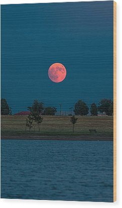 Blood Moon Rising Wood Print