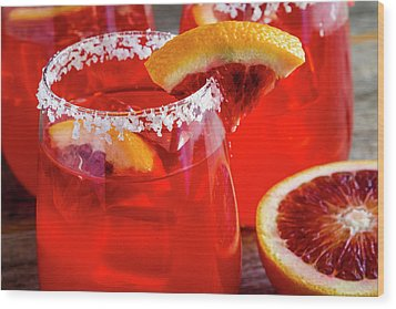 Wood Print featuring the photograph Blood Orange Margaritas On The Rocks by Teri Virbickis