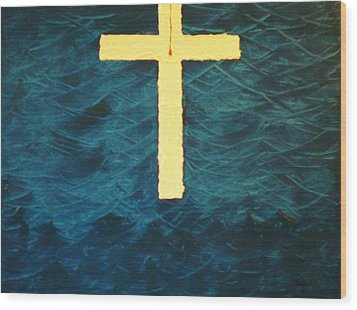 Blood Stained Cross Wood Print by Barbara Hayes
