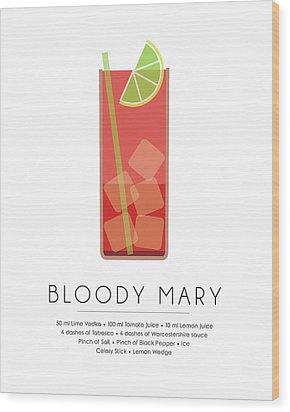 Bloody Mary Classic Cocktail - Minimalist Print Wood Print