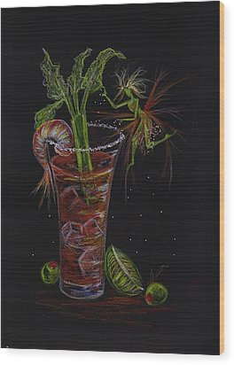 Wood Print featuring the drawing Bloody Mary by Dawn Fairies
