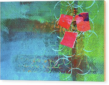 Wood Print featuring the mixed media Bloom Abstract Collage by Nancy Merkle