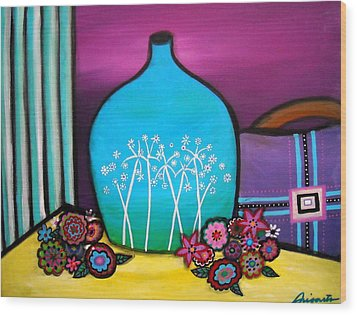 Wood Print featuring the painting Bloom And Vase by Pristine Cartera Turkus