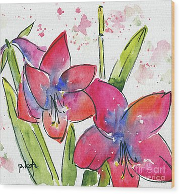 Wood Print featuring the painting Blooming Amaryllis by Pat Katz