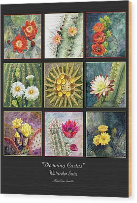 Wood Print featuring the painting Blooming Cactus by Marilyn Smith