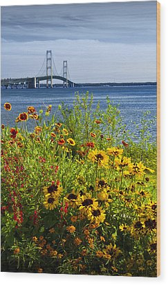 Blooming Flowers By The Bridge At The Straits Of Mackinac Wood Print