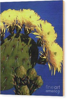 Blooming Prickly Pear Wood Print