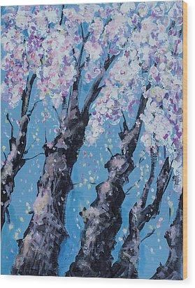 Blooming Trees Wood Print