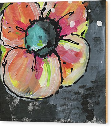 Wood Print featuring the mixed media Blooming Wildflower- Art By Linda Woods by Linda Woods