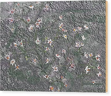 Blooms In Stone Wood Print by Annlynn Ward