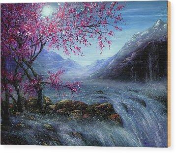 Blossom Falls Wood Print by Ann Marie Bone