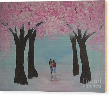 Blossoming Romance Wood Print by Leslie Allen