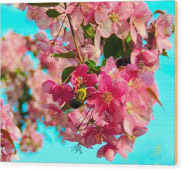 Blossoms And Bees Wood Print