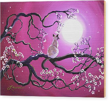 Blossoms In Fuchsia Moonlight Wood Print