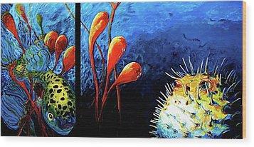 Blow Fish  Two Fish Wood Print