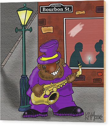 Blowin' On Bourbon Wood Print by Kev Moore