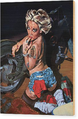 Blowjob Wood Print by George Frizzell