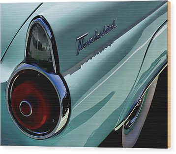 Blue 1955 T-bird Wood Print by Douglas Pittman