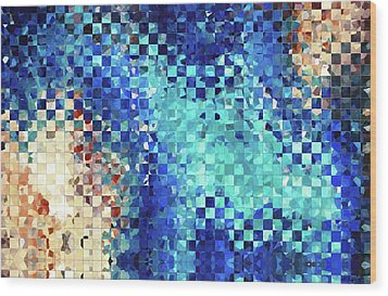 Blue Abstract Art - Pieces 2 - Sharon Cummings Wood Print by Sharon Cummings