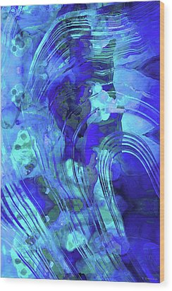 Blue Abstract Art - Reflections - Sharon Cummings Wood Print by Sharon Cummings