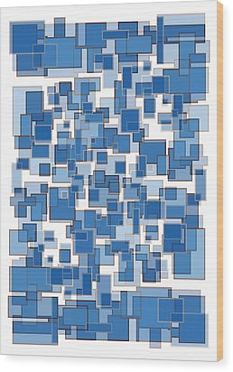 Blue Abstract Patches Wood Print by Frank Tschakert