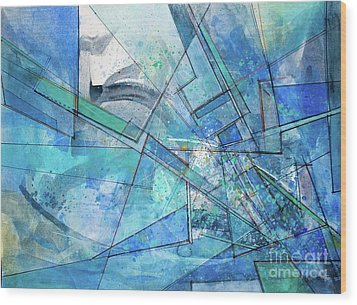 Wood Print featuring the painting Blue Abstract  by Robert Anderson