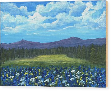 Wood Print featuring the painting Blue Afternoon by Anastasiya Malakhova