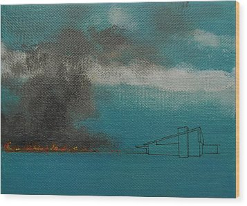 Blue Alexander With Brush Fire Wood Print by Stan  Magnan