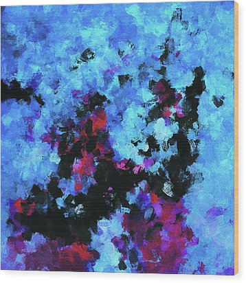 Wood Print featuring the painting Blue And Black Abstract Wall Art by Ayse Deniz