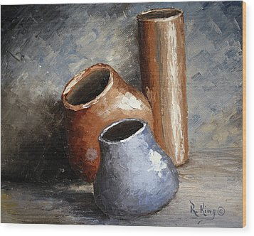 Wood Print featuring the painting Blue And Brown Pots by Roena King