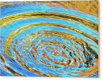 Blue And Gold Spiral Abstract Wood Print by Christina Rollo