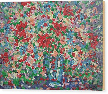 Blue And Red Flowers. Wood Print