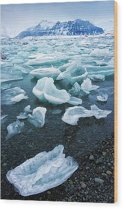 Blue And Turquoise Ice Jokulsarlon Glacier Lagoon Iceland Wood Print by Matthias Hauser