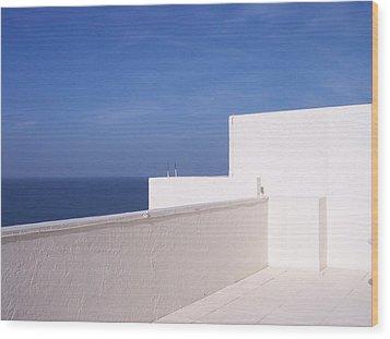 Blue And White Wood Print by Anna Villarreal Garbis