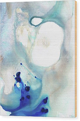 Blue And White Art - A Short Wave - Sharon Cummings Wood Print by Sharon Cummings