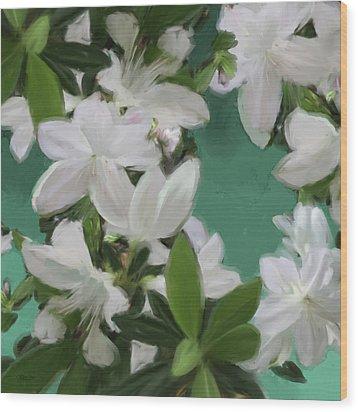 Blue And White Flower Art 2 Wood Print