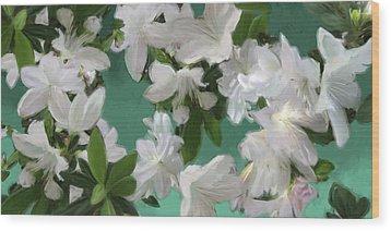Blue And White Flower Art  Wood Print