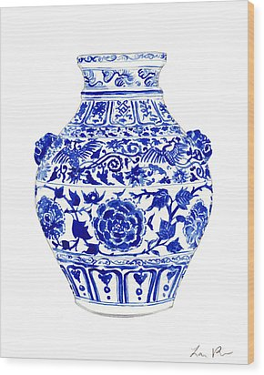 Blue And White Ginger Jar Chinoiserie 4 Wood Print