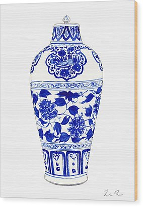 Blue And White Ginger Jar Chinoiserie Jar 1 Wood Print