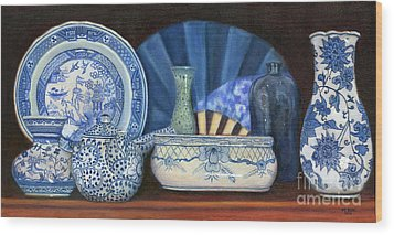 Blue And White Porcelain Ware Wood Print
