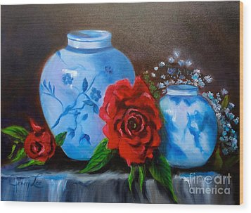 Wood Print featuring the painting Blue And White Pottery And Red Roses by Jenny Lee