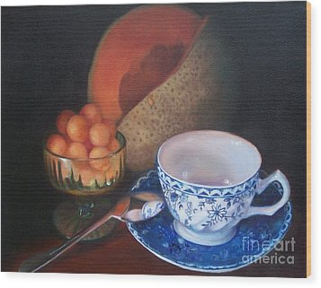 Blue And White Teacup And Melon Wood Print